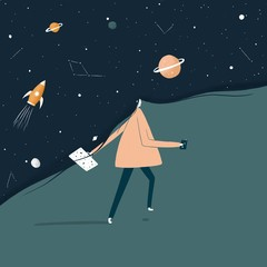 Illustration of woman walking in Space