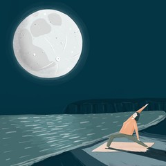 Illustration of woman doing yoga under full moon at night