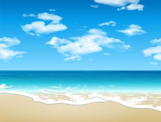 Summer landscape. Seashore and sandy beach. 3D vector. High detailed realistic illustration