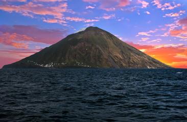 Stromboli volcano and sea