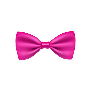 Pink bow tie from satin material. Elegant clothes accessory isolated on white background. Realistic formal wear for official event. Holiday decor from silk vector illustration.