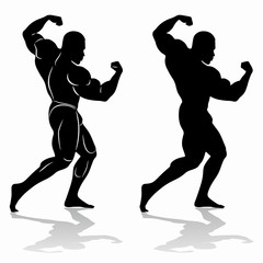 silhouette of bodybuilder , vector drawing