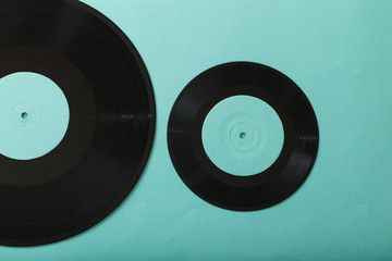 Music records on paper background. Retro music concept