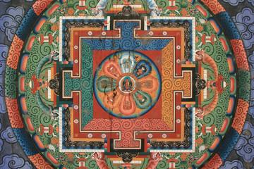 mandala painted on the ceiling of a bridge in thimphu (bhutan)