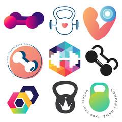 Dumbbell logo template set