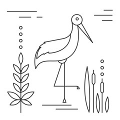 Line illustration with heron isolated on white.