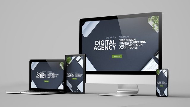 digital agency technology devices collection mockup