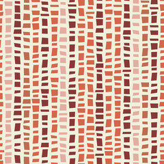 Terracotta coloured mosaic terrazzo style vertical striped design. Seamless vector pattern on cream background. Great for wellness products, fabric, packaging, stationery, home decor