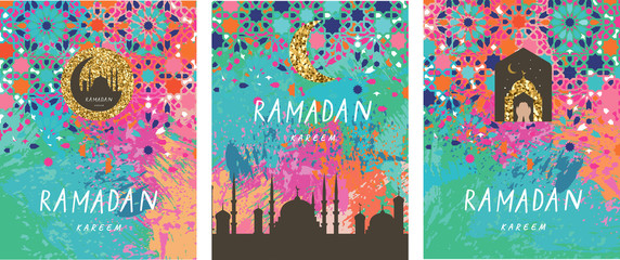 Ramadan Kareem background with crescent, moon and mosque   and mosaic. Ramadan mubarak greeting card, poster, invitation for muslim
