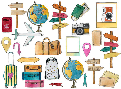 Set of travel elements with airplane, globe, signpost, geo, passport, bags, tickets, cameras, arrows. Hand drawn watercolor illustration.