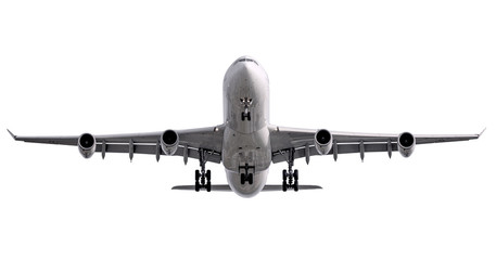 The white four jet engines airline plane take off Wall mural