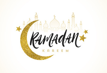 Ramadan Kareem greeting card - Brush calligraphy greeting, glitter gold moon, star and silhouette of mosque. Vector illustration.
