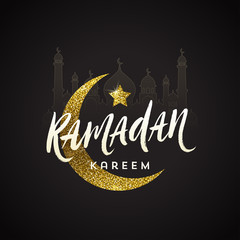 Ramadan Kareem greeting card - Brush calligraphy greeting against a glitter gold moon, star and silhouette of mosque. Vector illustration.