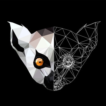 Low poly triangular lemur face on black background, illustration.  Polygonal style trendy modern logo design. Suitable for printing on a t-shirt.