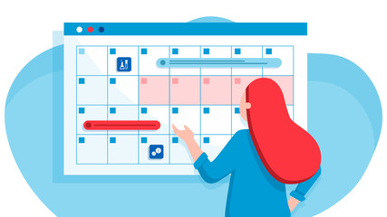 Fototapeta A young woman marks the date of menstruation in the online calendar. An app for tracking your menstrual cycle and birth control. Website vibrant violet landing web page template. obraz