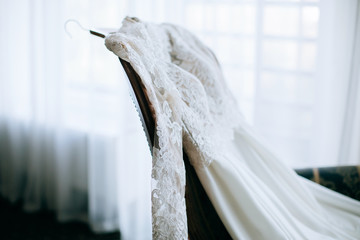 Bride morning. Wedding details. gorgeous wedding dress