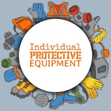 Individual protective equipment for safe work vector illustration. Big sale on health and safety supplies round pattern. Best offer of gloves, helmet, glasses, protection gas mask.