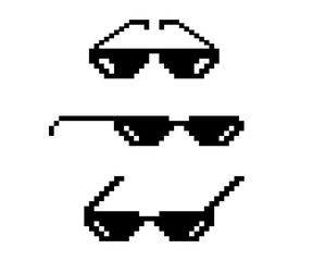 Vector pixel glasses. Art style 8-bit. Design photos and pictures, easy to edit. Vector illustration