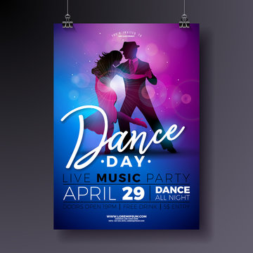 Dance Day Party Flyer design with couple dancing tango on shiny colorful background. Vector celebration poster illustration template for Ballroom Night.