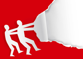 Two Men ripping red paper background.  Illustration of Paper silhouette of two men ripping red paper background with place for your text or image. Vector available.