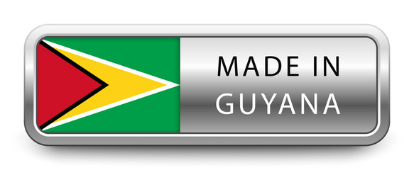 MADE IN GUYANA metallic badge with national flag isolated on white background