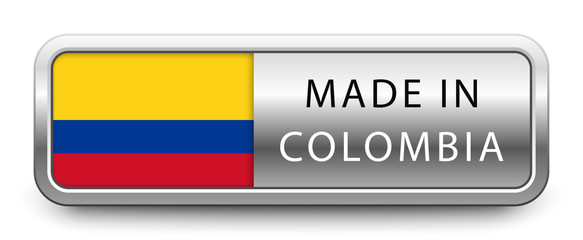 MADE IN COLOMBIA metallic badge with national flag isolated on white background