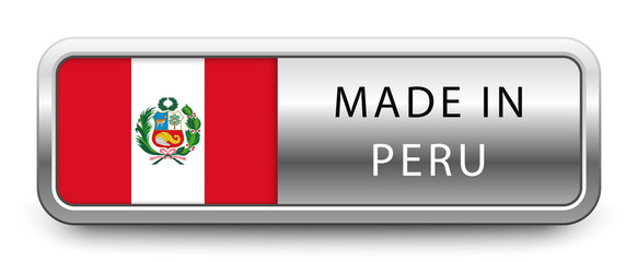 MADE IN PERU metallic badge with national flag isolated on white background