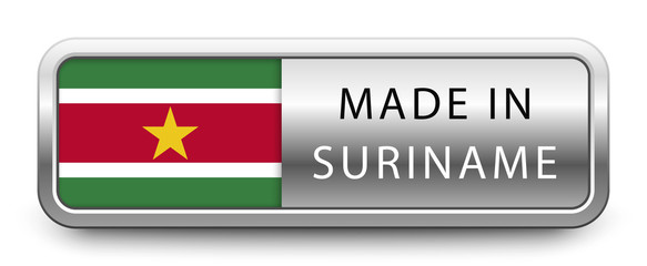 MADE IN SURINAME metallic badge with national flag isolated on white background