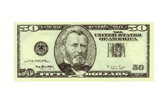 fifty dollar bill. vector illustration