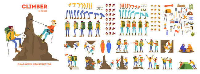 Mountain climber animation set. Active and extreme