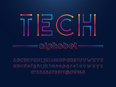 Vector of circuit board font and alphabet design