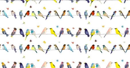 Ptaki i motyle Ilustracja akwarela świt dłoni - 261998403