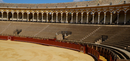 April 2019 Bullfighting arena (plaza de toros) in Seville, Real Maestranza de Caballeria de Sevilla, Spain.