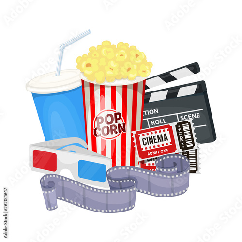 Cinema icons set with clapper board, film reel, popcorn, cola