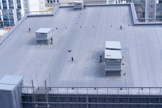 top view of the roof structure of an apartment building