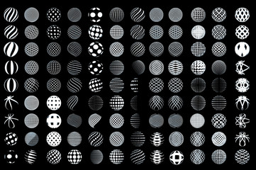 Set of minimalistic wireframe shapes of globe spheres. vector Wall mural