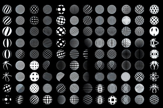 Set of minimalistic wireframe shapes of globe spheres. vector