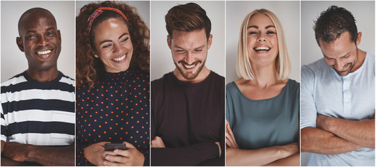 Collage of ethnically diverse young entrepreneurs laughing Wall mural
