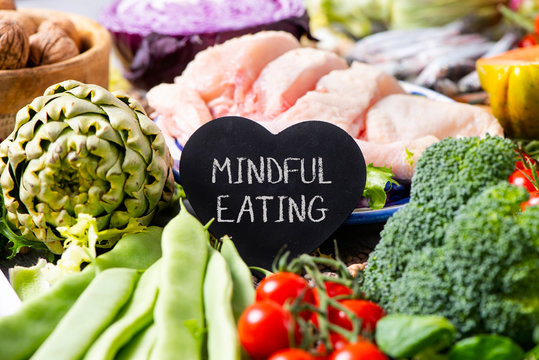 vegetables, chicken and text mindful eating