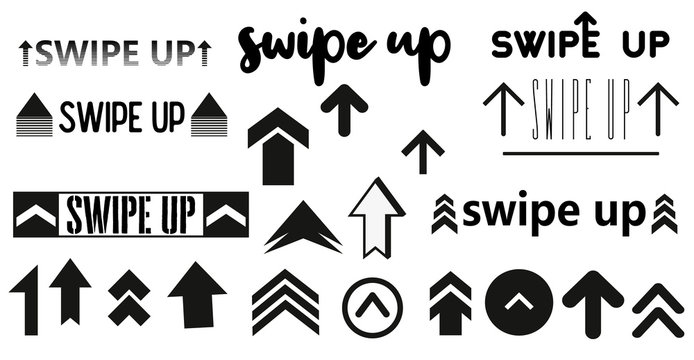 Vector swipe up icon set isolated on background for stories design blogger, scroll pictogram. Arrow up logo. 10 eps Black swipe up vector.