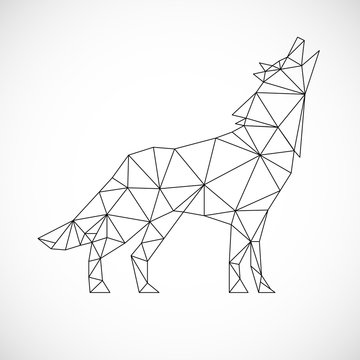 Vector polygonal triangular illustration of animal wolf. Origami style outline geometric wolf