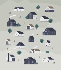 Wall Mural - Banner template with town district with country cottages of modern Scandic architecture and walking people. Background with suburban living buildings or real estate. Flat cartoon vector illustration.