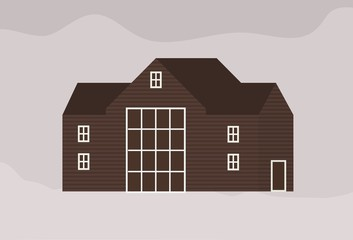 Fototapete - Facade of modern living town house or cottage in Scandic style. Exterior of wooden Scandinavian building of sustainable architecture. Suburban residence or ranch. Flat monochrome vector illustration.