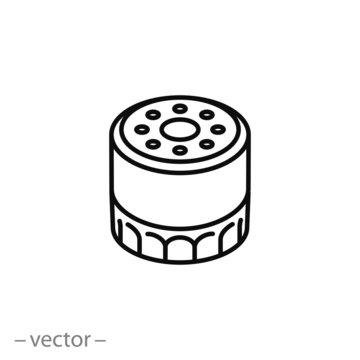 car oil filter icon, line sign on white background - editable stroke vector illustration eps10