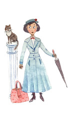 Cartoon Illustration of baby sitter with umbrella, suitcase and cat on a column