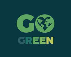 Modern Go Green Environment Label Logo Illustration