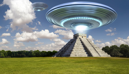 Flying saucer on Maya pyramid ruins Chichen itza in daytime  with a light energy ray - 3d rendering - concept art Wall mural