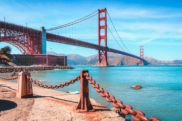 Wall Mural - Golden Gate Bridge with Fort Point, San Francisco, California