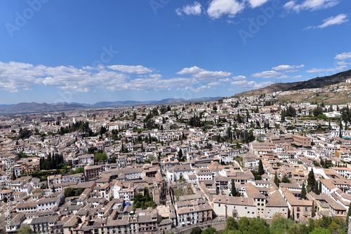 Panorama view of Granada old city from tower of Alhambra Palace