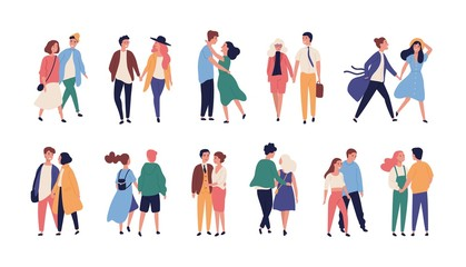 Collection of couples on romantic date. Set of teenage boys and girls holding hands, walking together isolated on white background. Bundle of men and women in love. Flat cartoon vector illustration.